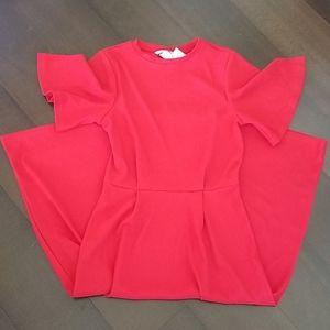 H&M Red Midi Short Sleeves Dress